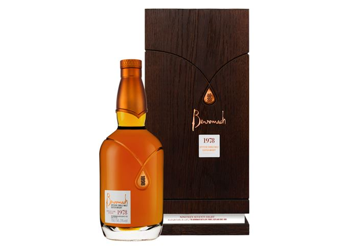Benromach 1978 has a decanter style bottle and oak box
