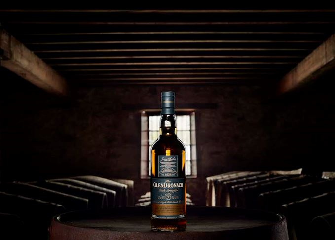 GlenDronach Cask Strength Batch 7 bottle carton and glass
