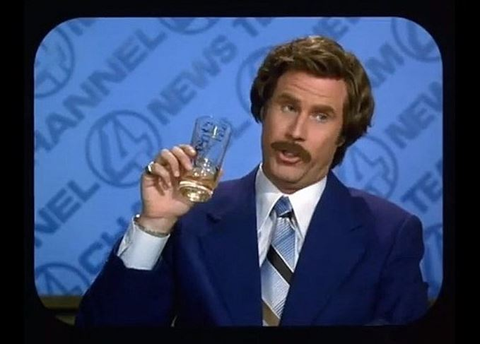 Ron Burgundy, Anchorman with a glass of Scotch