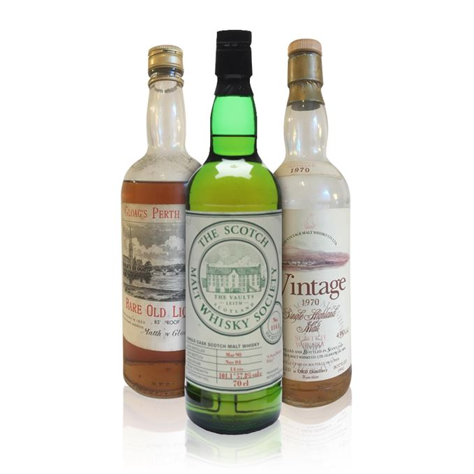 Longrow from SMWS, Ord from Vintage Malt Whisky, and Gloag's Old Rare Liqueur