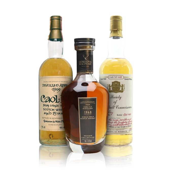 Caol Ila 50 Years Old, Bottled 2018, Private Collection (Gordon & MacPhail); Caol Ila 15 Years Old, Bottled 1984 (Gordon & MacPhail for Intertrade); Islay Single Malt 13 Years Old, Bottled 1989 (SSMC)