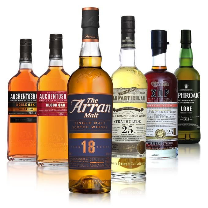 Batch 33 includes Auchentoshan Blood Oak, Auchentoshan Noble Oak, Arran 18, Laphroaig Lore Strathclyde 25 and Aultmore 25 from Douglas Laing.
