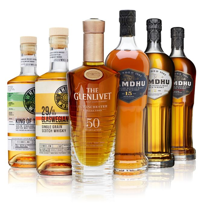 Whisky Works King of Trees 10 Year Old, Whisky Works Glaswegian 29 Year Old, The Glenlivet Winchester 50 Year Old 1967 Vintage, Tamdhu 12 Year Old, Tamdhu 15 Year Old, Tamdhu Batch Strength No. 004