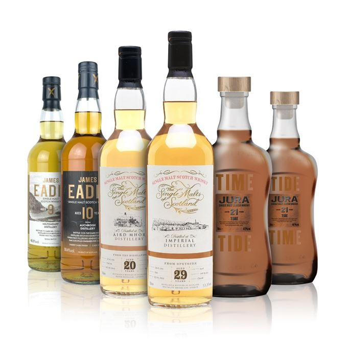 Ardmore 20 Years Old (Single Malts of Scotland); Auchroisk 10 Years Old, Pedro Ximénez Finish (James Eadie); Imperial 29 Years Old (Single Malts of Scotland); Jura 21 Years Old, Tide; Jura 21 Years Old, Time; Miltonduff 9 Years Old (James Eadie)