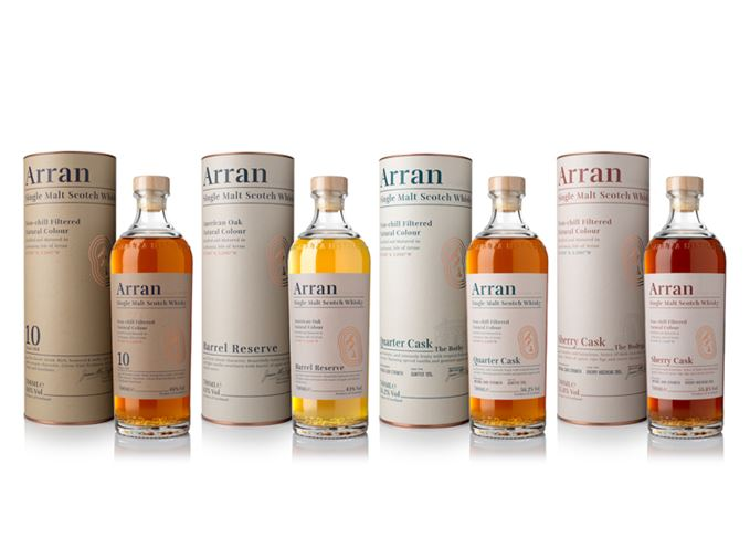 Arran malt 10-year-old, Barrel Reserve, the Bothy and the Bodega whiskies