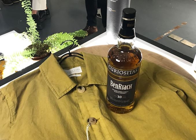 Kestin Hare shop coat and BenRiach Curiositas