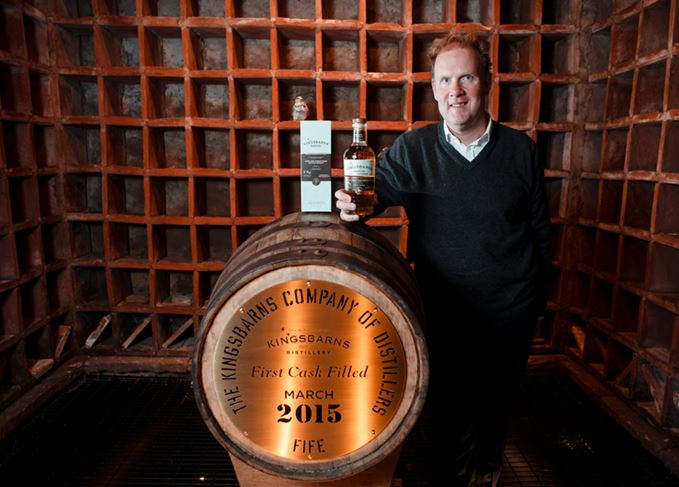 Kingsbarns managing director William Wemyss with Kingsbarns' first cask of their single malt