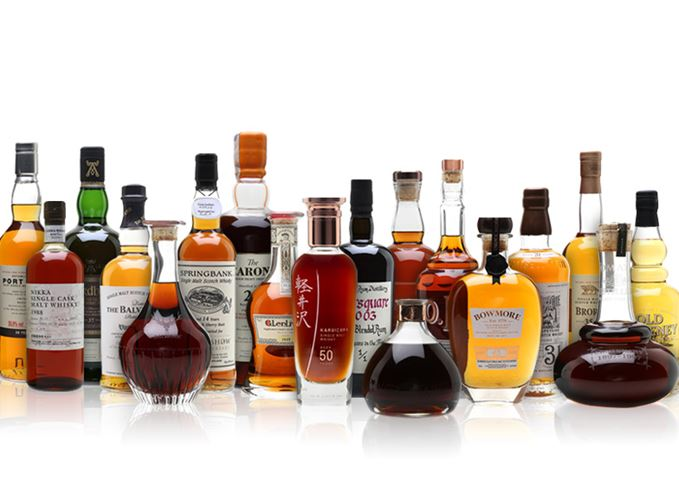 whisky.auction's charity auction selection of bottles, including Karuizawa, Port Ellen, Brora, Bowmore and more