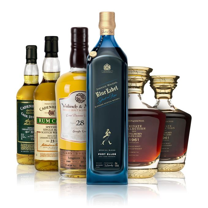 Johnnie Walker Blue Label Ghost and Rare, Linkwood 30-year-old and Longmorns from Valinch and Mallet, Cadenhead and Private Collection editions from Gordon & MacPhail