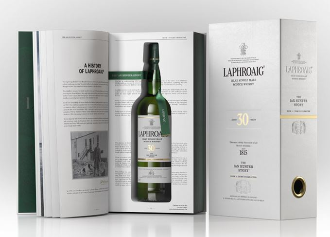 Laphroaig 30 Year Old Ian Hunter Book One bottle and packaging