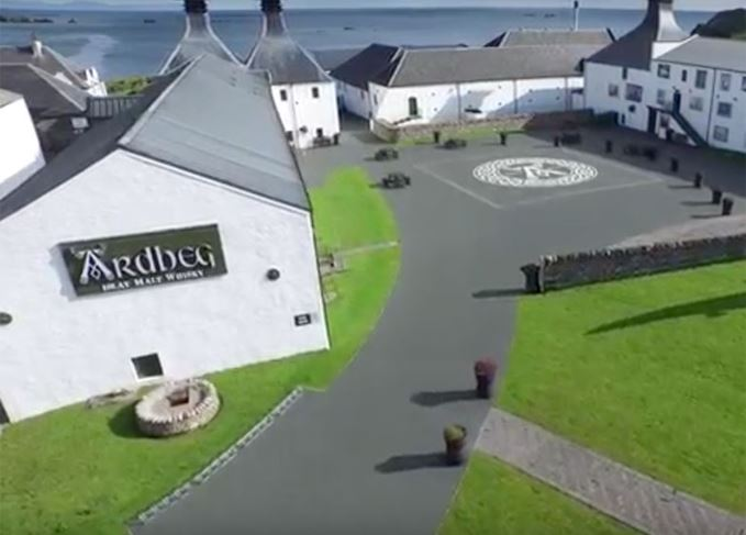 A bird's eye view of Ardbeg distillery