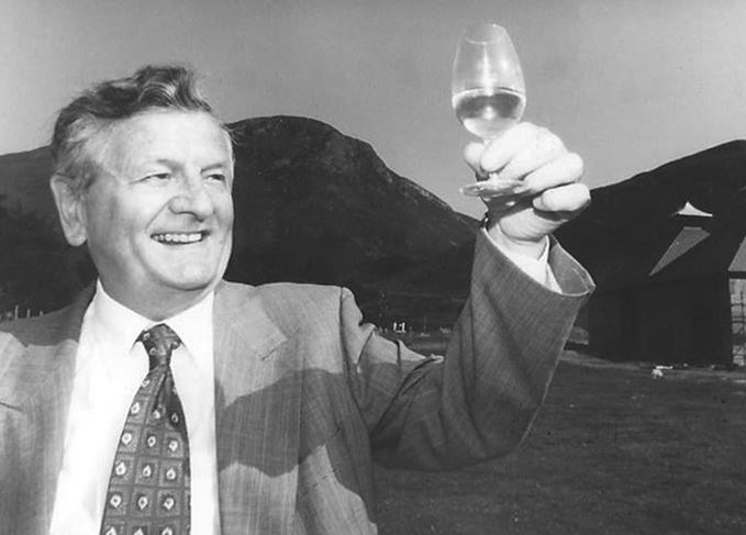 Harold Currie of Isle of Arran distillers raising a glass