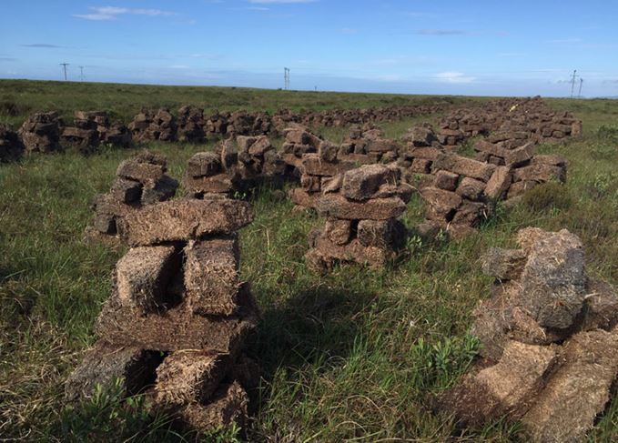 Peat stacks on Islay in Scotland