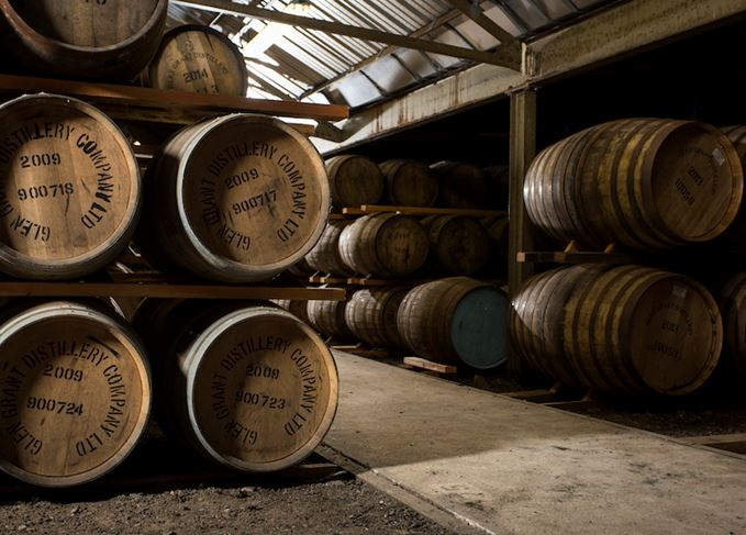 Casks inside a dunnage warehouse at Glen Grant