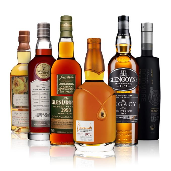 Benromach Heritage 1972, Glengoyne Legacy Series Chapter 1, Octomore 10 Years Old Dialogos, GlenDronach Master Vintage 1993, North British 1990 Gordon & MacPhail, Rosebank 21 Years Old, Jealousy