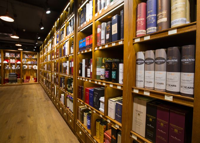 Whisky shop shelves