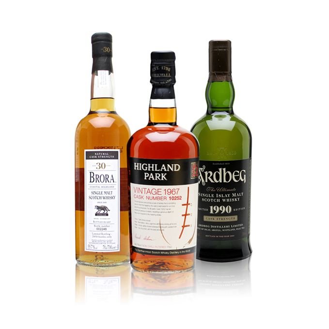 Brora 30 year old, Highland Park 1967, Ardbeg 1990 rare whisky