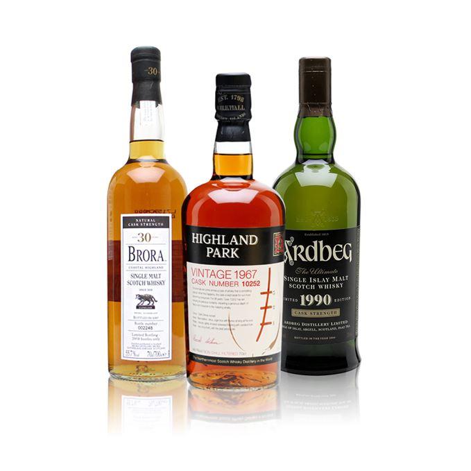 Brora 30 year old, Highland Park 1967, Ardbeg 1990 rare whisky