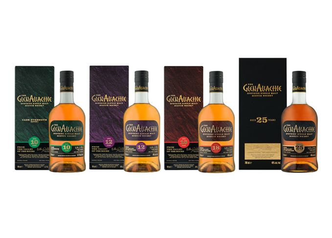 GlenAllachie core range bottles and cartons