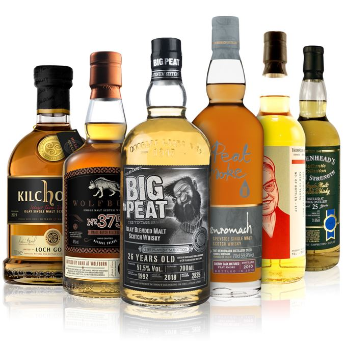 Kilchoman Loch Gorm 2019, Wolfburn Batch 375, Big Peat Platinum Edition, Benromach Peat Smoke Sherry Cask Matured, Thompson Brothers Islay Malt 13 Years Old, Ardbeg 25 Years Old