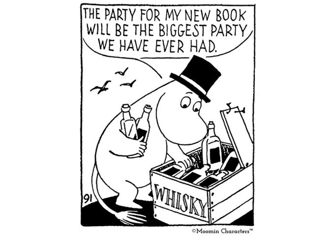 Moominpappa with crate of whisky