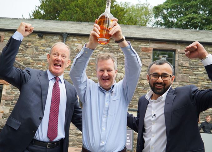 Lakes distillery Genesis held by CEO Nigel Mills CBE, Lakes founder Paul Currie and whiskymaker Dhavall Gandhi