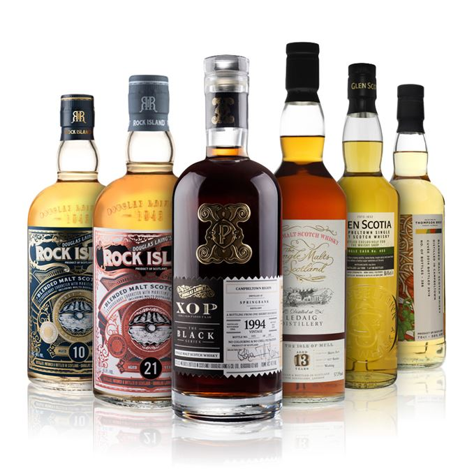 Campbeltown Blended Malt, 5 Years Old, Cuvee 2014 (Thompson Bros); Glen Scotia 20 Years Old (The Whisky Shop); Ledaig 13 Years Old (Single Malts of Scotland); Rock Island 10 Years Old (Douglas Laing); Rock Island 21 Years Old (Douglas Laing); Springbank 1994 XOP Black Series (Douglas Laing)