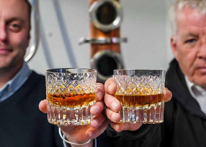 Isle of Wight whisky distillers toast