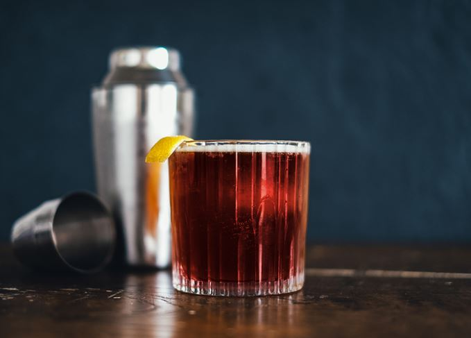 Boulevardier cocktail with cocktail mixer