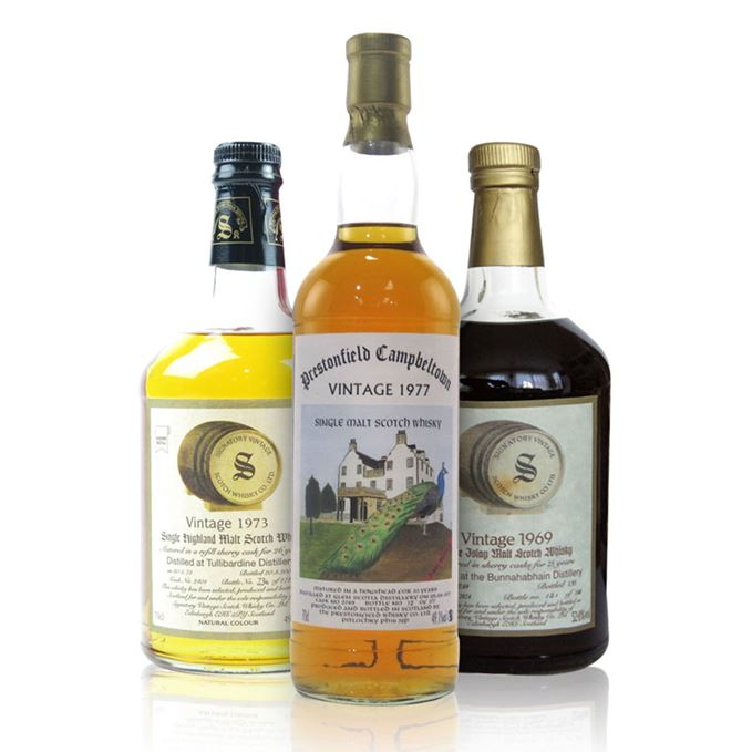 Signatory Tullibardine 26 year old, Glen Scotia 33 year old by Prestonfield Whisky Co, Bunnahabhain 25 years old Signatory
