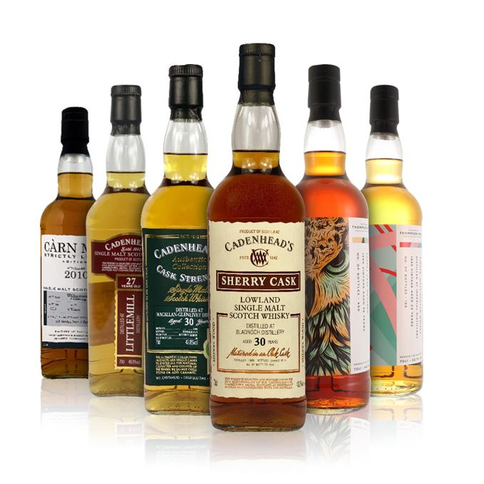 Bladnoch 30 Years Old (Cadenhead), Imperial 24 Years Old (Thompson Bros.), Littlemill 27 Years Old (Cadenhead), Macallan-Glenlivet 30 Years Old (Cadenhead), 38 Year Old Blend (Thompson Bros.), Williamson-Laphroaig 9 Years Old, Càrn Mòr (Morrison & MacKay)