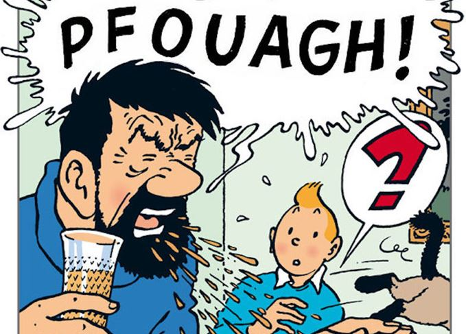 Captain Haddock spits out whisky beside Tintin