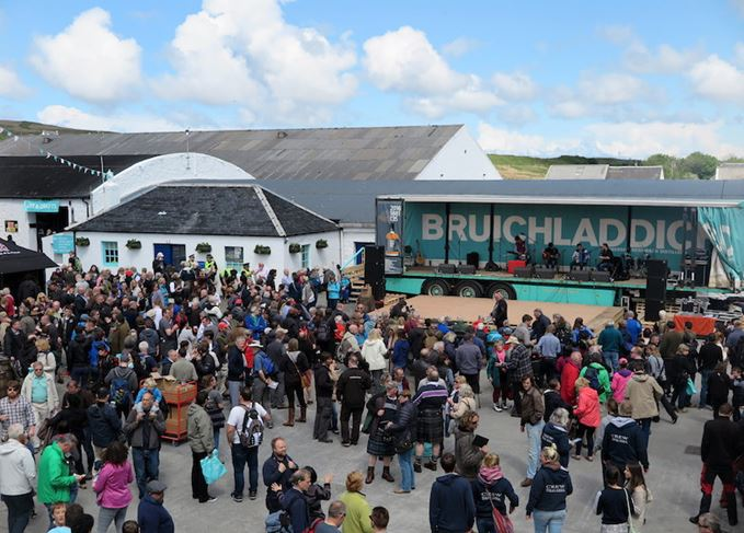 Crowds at Bruichladdich distillery
