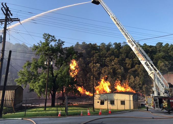 Fire at a Jim Beam Bourbon warehouse