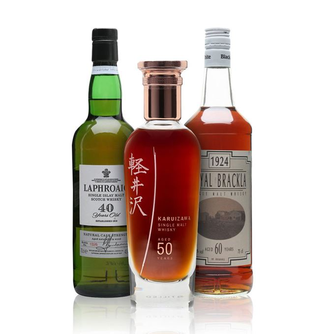 Laphroaig 40 Year Old, Karuizawa 50 year old, Royal Brackla 60 years old