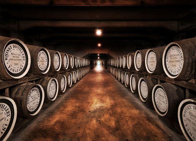 Japanese whisky casks maturing at Yamazaki distillery