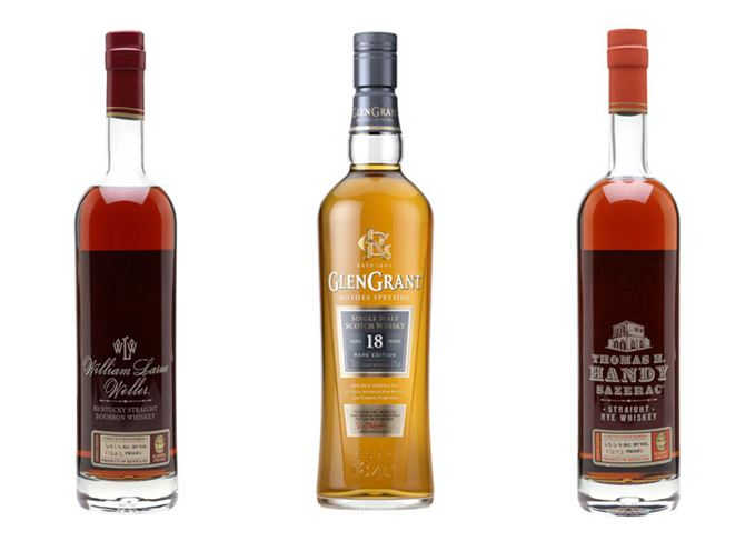 WL Weller Bourbon, Glen Grant Aged 18 Years, Thomas H Handy Sazerac Rye