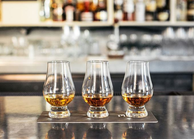 Glasses of single malt Scotch whisky