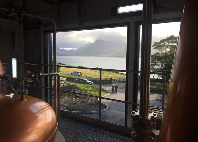 Raasay distillery's view of Skye