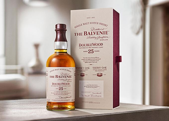 Balvenie DoubleWood 25-year-old with packaging on table