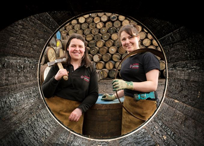 Angela Cochrane and Kirsty Olychick, first female coopers in the UK
