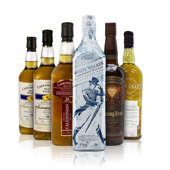 Johnnie Walker White Walker, Cameronbridge, Caledonian and Port Dundas expressions from Cadenhead, Girvan single cask bottling from Lady of the Glen and Compass Box Flaming Heart 2018 Edition