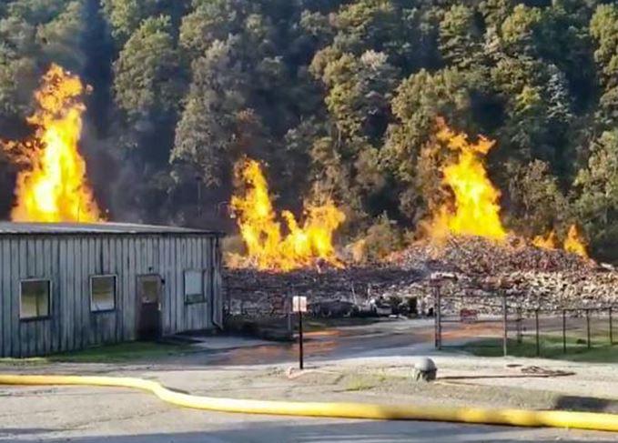 Jim Beam warehouse burning down