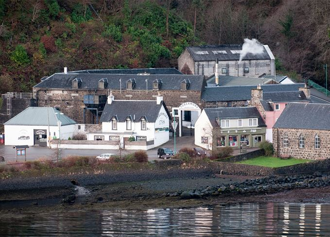 Aerial view of Tobermory distillery on the Isle of Mull