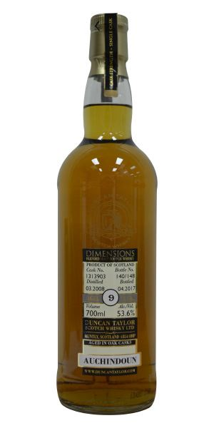 Auchindoun 9 Years Old, Cask 1313903, Dimensions (Duncan Taylor)