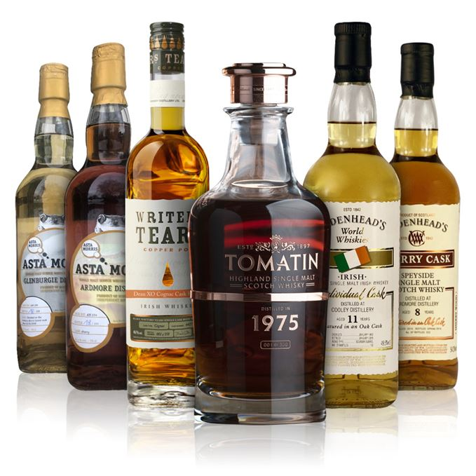 Ardmore eight-year-old Cadenhead's; Ardmore five-year-old Asta Morris; Cooley 11-year-old Cadenhead's; Glenburgie 2008 Asta Morris; Tomatin 1975 Warehouse 6 Collection; Writers' Tears Copper Pot, Deau XO Cognac finish