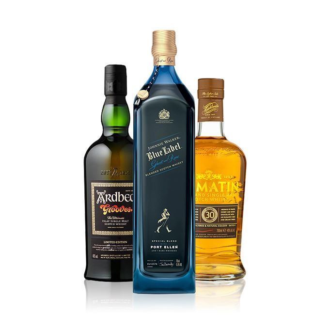 Johnnie Walker Ghost and Rare Port Ellen Edition, Ardbeg Grooves and Tomatin 30