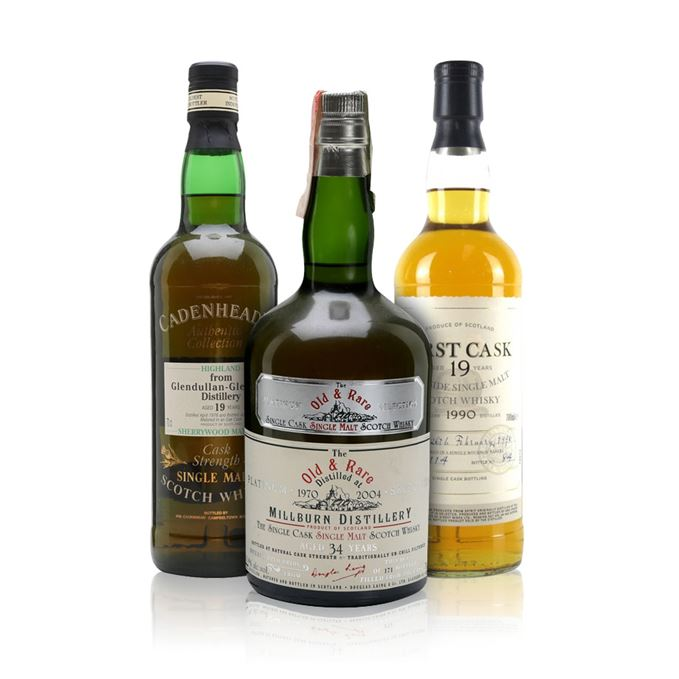Ardmore 1990, 19 years old, Glendullan 1978 from Cadenhead and Millburn 1970 from Douglas Laing