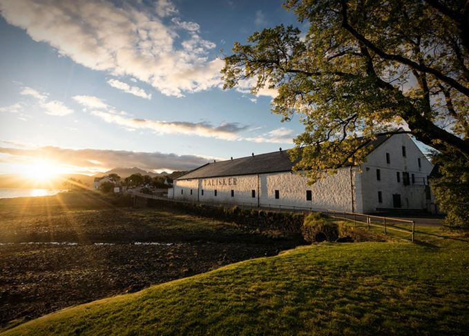 Talisker distillery at sunset