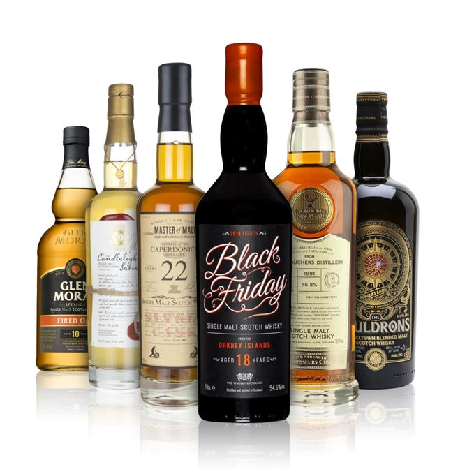 Black Friday Orkney malt from Whisky Exchange, Glen Moray Fired Oak 10 year old, Whisky Illuminati Glentauchers 20 year old, Connoisseurs Choice Glentauchers 27, The Gualdrons batch 3 and Master of Malt's Caperdonich 22